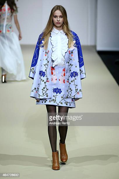 A model walks the runway at the Vivetta show during the Milan Fashion Week Autumn/Winter 2015 on February 28 2015 in Milan Italy