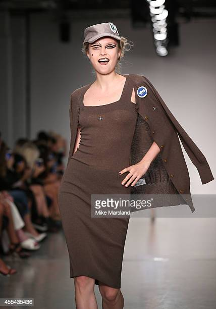 A model walks the runway at the Vivienne Westwood Red Label show during London Fashion Week Spring Summer 2015 at on September 14 2014 in London...
