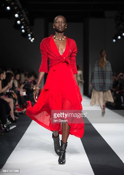 A model walks the runway at the Vivienne Westwood Red Label show during London Fashion Week Fall/Winter 2015/16 at Science Museum on February 22 2015...