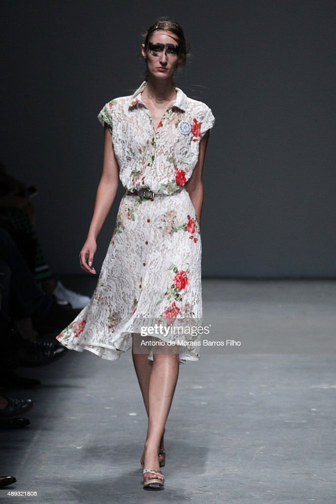 A model walks the runway at the Vivienne Westwood Red Label show during London Fashion Week Spring/Summer 2016/17 on September 20, 2015 in London, England.