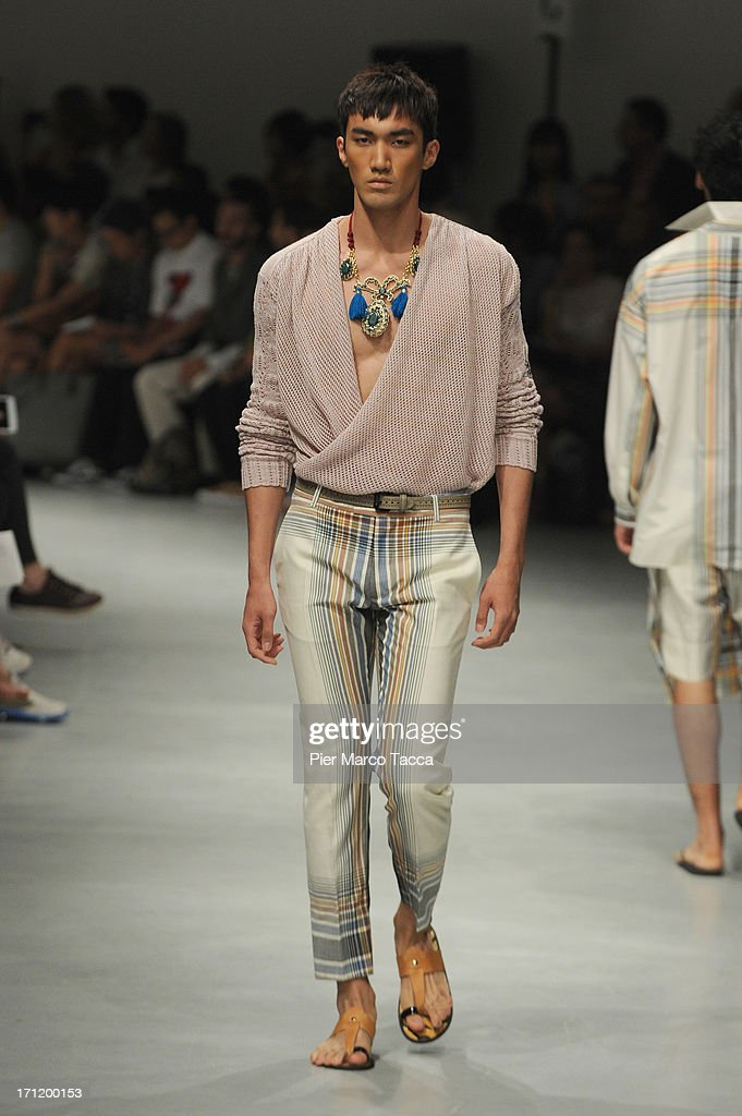 A model walks the runway at the Vivienne Westwood show during Milan Menswear Fashion Week Spring Summer 2014 on June 23, 2013 in Milan, Italy.