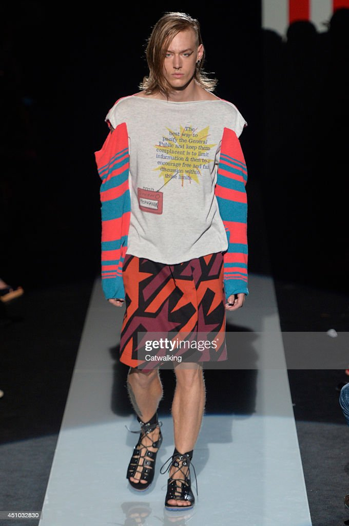 A model walks the runway at the Vivienne Westwood Spring Summer 2015 fashion show during Milan Menswear Fashion Week on June 22, 2014 in Milan, Italy.