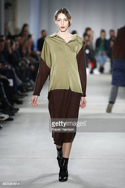 A model walks the runway at the Vladimir Karaleev show during the MercedesBenz Fashion Week Berlin A/W 2017 at Kaufhaus Jandorf on January 19 2017 in...
