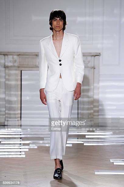 A model walks the runway at the Wales Bonner Salon show designed by Grace Wales Bonner during The London Collections Men SS17 on June 12 2016 in...