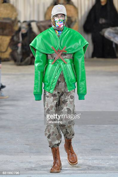 A model walks the runway at the Walter van Beirendonck Autumn Winter 2017 fashion show during Paris Menswear Fashion Week on January 18 2017 in Paris...