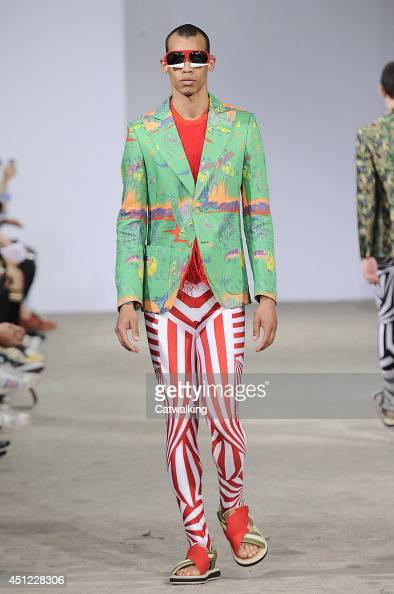 A model walks the runway at the Walter Van Beirendonck Spring Summer 2015 fashion show during Paris Menswear Fashion Week on June 25 2014 in Paris...