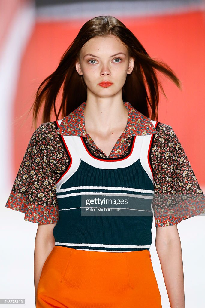 A model walks the runway at the Wataru Tominaga presented by Mercedes-Benz & Elle show during the Mercedes-Benz Fashion Week Berlin Spring/Summer 2017 at Erika Hess Eisstadion on June 30, 2016 in Berlin, Germany.