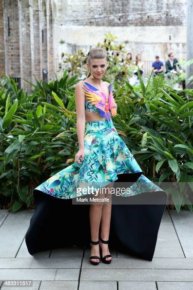 A model walks the runway at the We Are Handsome show at MercedesBenz Fashion Week Australia 2014 at Paddington Reservoir Gardens on April 8 2014 in...
