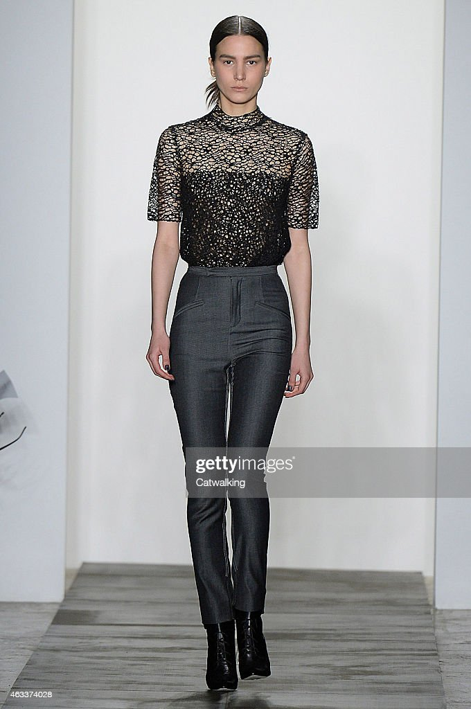 A model walks the runway at the Wes Gordon Autumn Winter 2015 fashion show during New York Fashion Week on February 13 2015 in New York United States