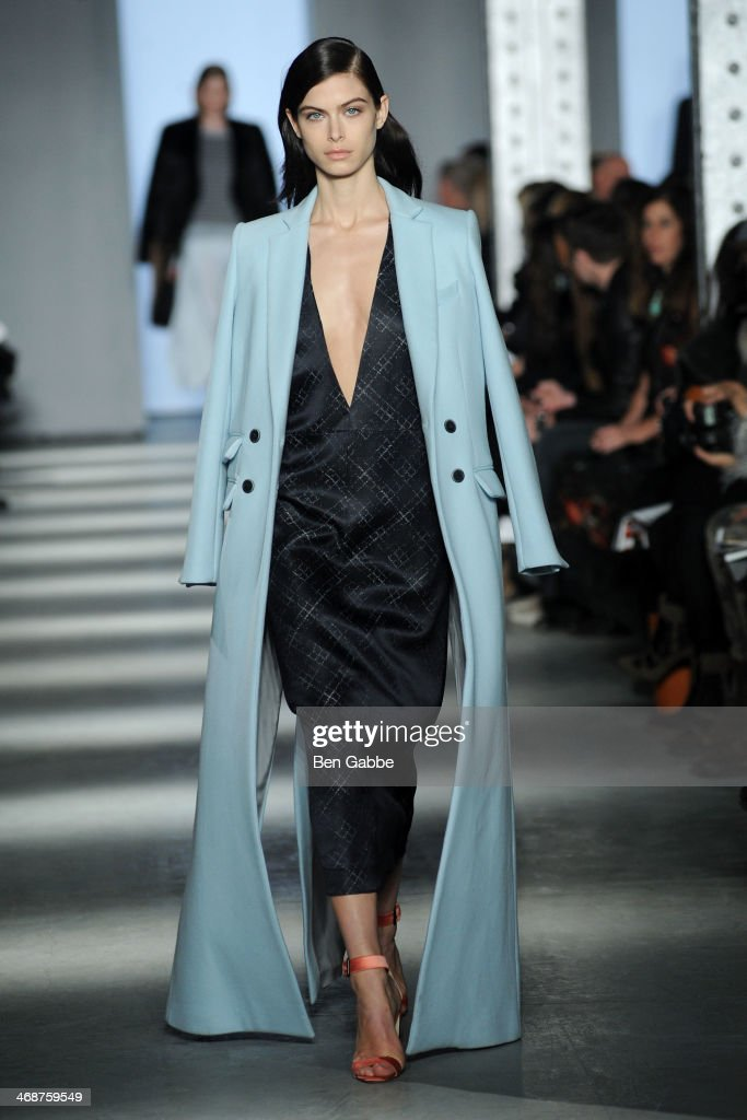 A model walks the runway at the Wes Gordon fashion show during MercedesBenz Fashion Week Fall 2014 on February 11 2014 in New York City