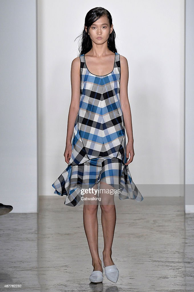 A model walks the runway at the Wes Gordon Spring Summer 2016 fashion show during New York Fashion Week on September 11 2015 in New York United States
