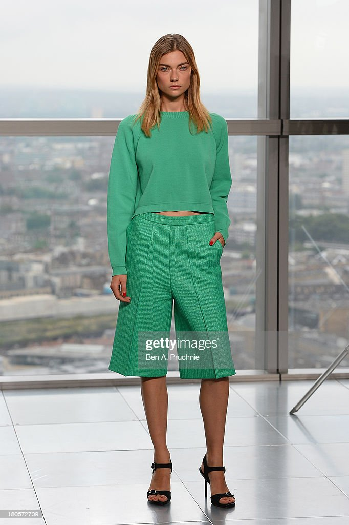 A model walks the runway at the Whistles show during London Fashion Week SS14 at Heron Tower on September 14, 2013 in London, England.