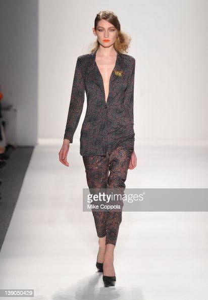 A model walks the runway at the Whitney Eve Fall 2012 fashion show during MercedesBenz Fashion Week at The Studio at Lincoln Center on February 15...