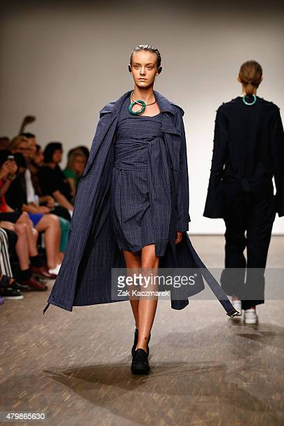 A model walks the runway at the William Fan show during the MercedesBenz Fashion Week Berlin Spring/Summer 2016 at Stage at me Collectors Room on...