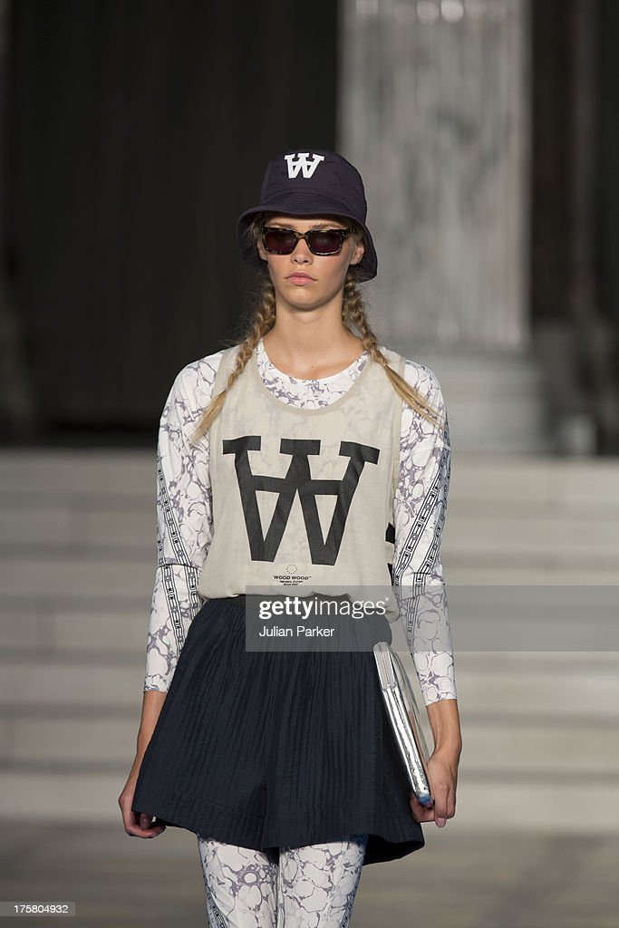 A model walks the runway, at the Wood Wood show on Day 2 of Copenhagen Fashion Week Spring/Summer 2014 on August 8, 2013 in Copenhagen, Denmark.