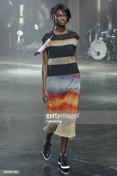 A model walks the runway at the Y3 Spring Summer 2014 fashion show during New York Fashion Week on September 8 2013 in New York United States