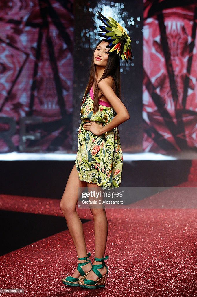 A model walks the runway at the Yamamay Fashion Show during Milan Fashion Week Fall/Winter 2013/14 at the Alcatraz on February 19, 2013 in Milan, Italy.