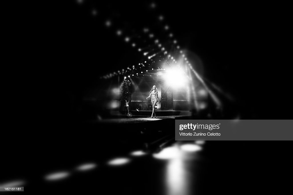 A model walks the runway at the Yamamay show during Milan Fashion Week Fall/Winter 2013/14 at the Alcatraz on February 19, 2013 in Milan, Italy.