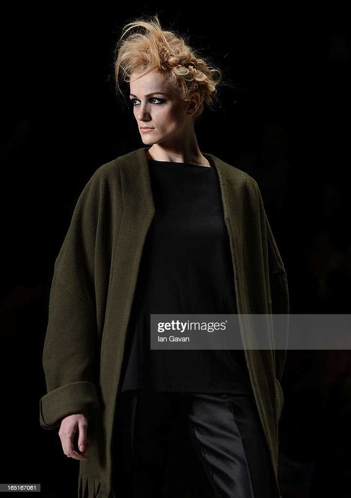 A model walks the runway at the Yana Kushnareva for the Domus Academy Collective Show during Mercedes-Benz Fashion Week Russia Fall/Winter 2013/2014 at Manege on April 1, 2013 in Moscow, Russia.
