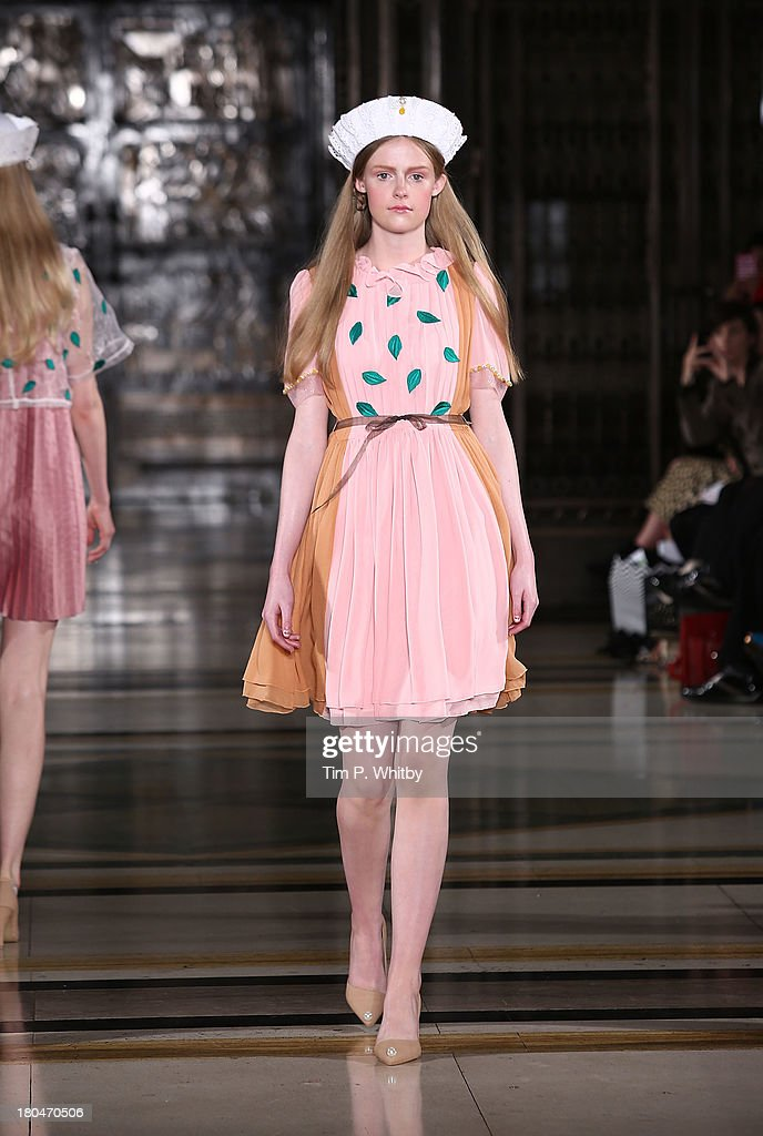 A model walks the runway at the Yeashin show during at the Fashion Scout venue during London Fashion Week SS14 at Freemasons Hall on September 13, 2013 in London, England.
