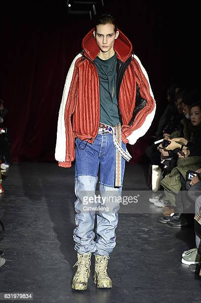 A model walks the runway at the Y/Project Autumn Winter 2017 fashion show during Paris Menswear Fashion Week on January 18 2017 in Paris France