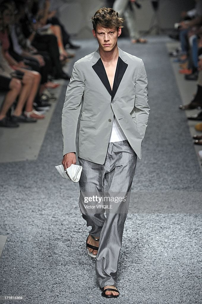 A model walks the runway at the Z Zegna show during Milan Menswear Fashion Week Spring Summer 2014 on June 25, 2013 in Milan, Italy.