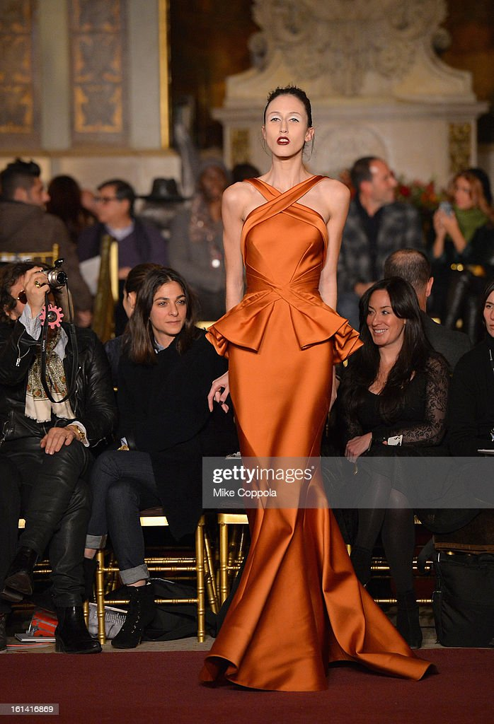 A model walks the runway at the Zac Posen Fall 2013 fashion show during Mercedes-Benz Fashion Week on February 10, 2013 in New York City.