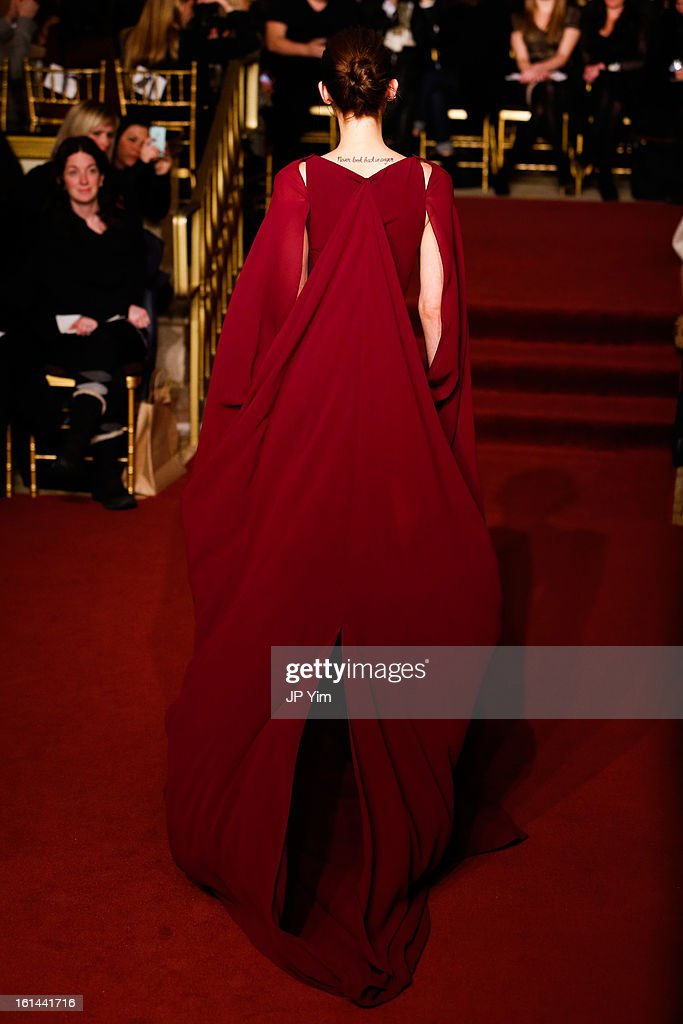 A model walks the runway at the Zac Posen Fall 2013 fashion show during Mercedes-Benz Fashion Week at The Plaza Hotel on February 10, 2013 in New York City.