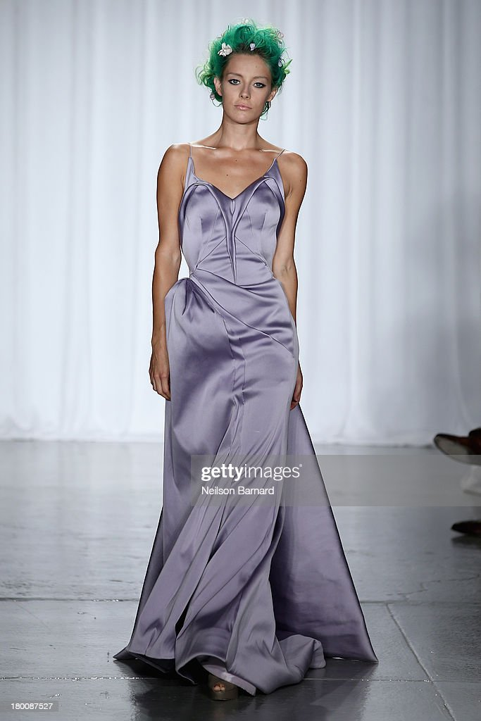 A model walks the runway at the Zac Posen fashion show during Mercedes-Benz Fashion Week Spring 2014 at Center 548 on September 8, 2013 in New York City.