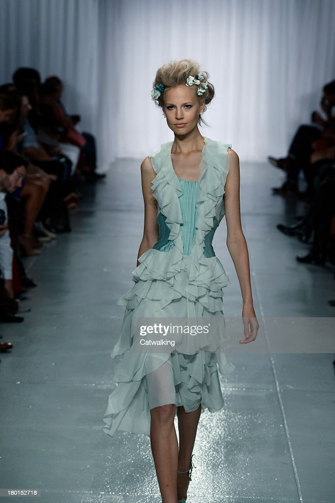 A model walks the runway at the Zac Posen Spring Summer 2014 fashion show during New York Fashion Week on September 8, 2013 in New York, United States.