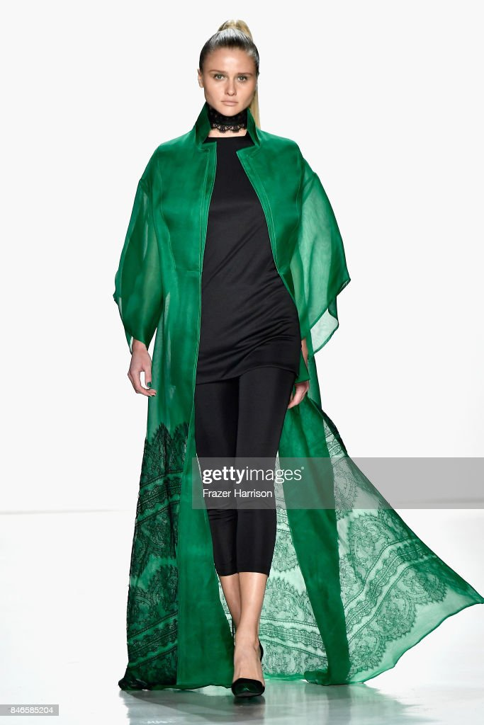 A model walks the runway at the Zang Toi fashion show during New York Fashion Week: The Shows at Gallery 3, Skylight Clarkson Sq on September 13, 2017 in New York City.