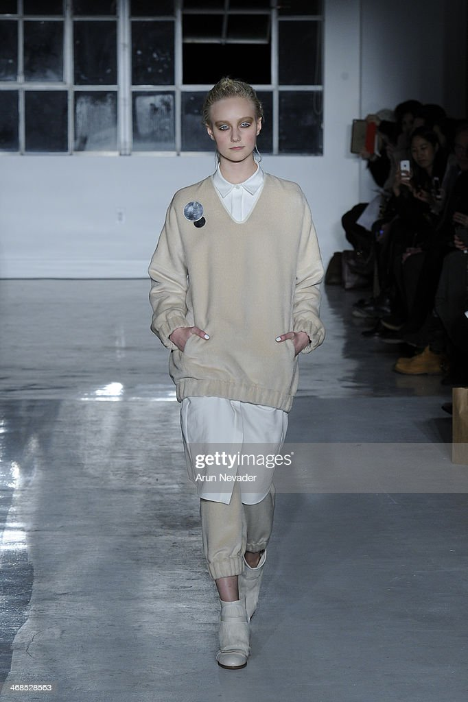 A model walks the runway at the Zero + Maria Cornejo fashion show during Mercedes-Benz Fashion Week Fall 2014 on February 10, 2014 in New York City.
