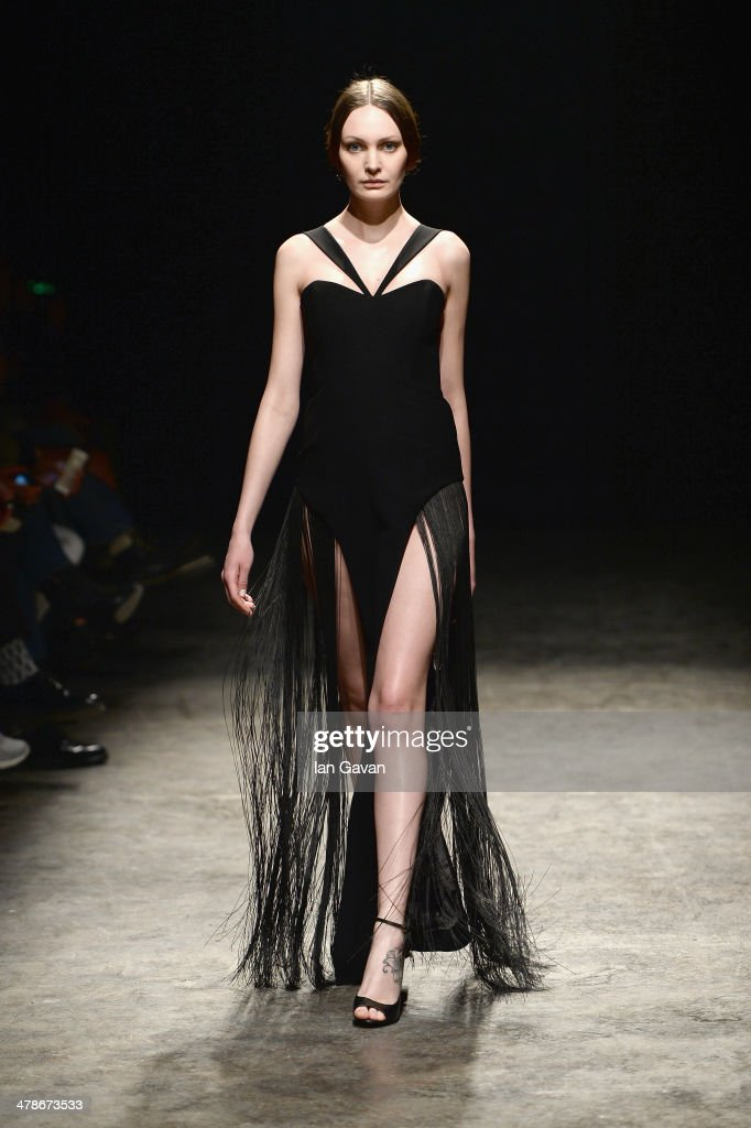 A model walks the runway at the Zeynep Erdogan show during MBFWI presented by American Express Fall/Winter 2014 on March 14, 2014 in Istanbul, Turkey.