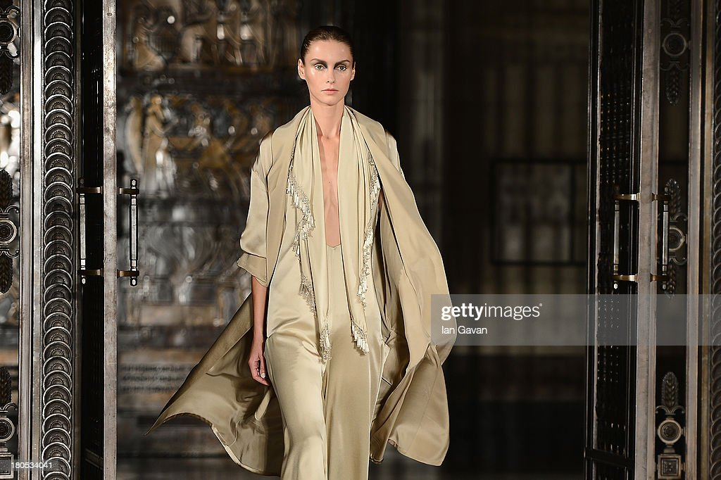 A model walks the runway at the Zeynep Tosun show at the Fashion Scout venue during London Fashion Week SS14 at Freemasons Hall on September 14, 2013 in London, England.