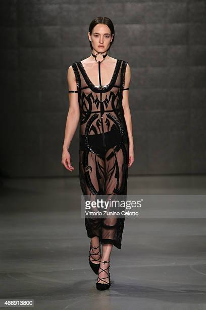 A model walks the runway at the Zeynep Tosun show during Mercedes Benz Fashion Week Istanbul FW15 on March 19 2015 in Istanbul Turkey