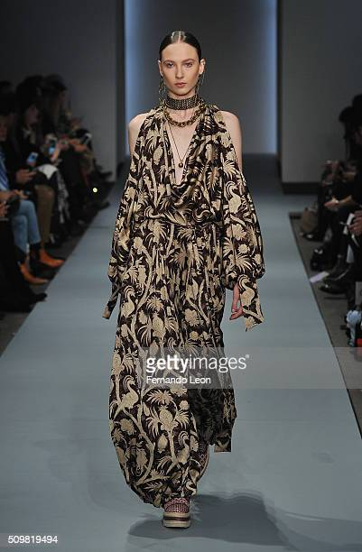 A model walks the runway at the Zimmermann fashion show during Fall 2016 New York Fashion Week at Art Beam on February 12 2016 in New York City