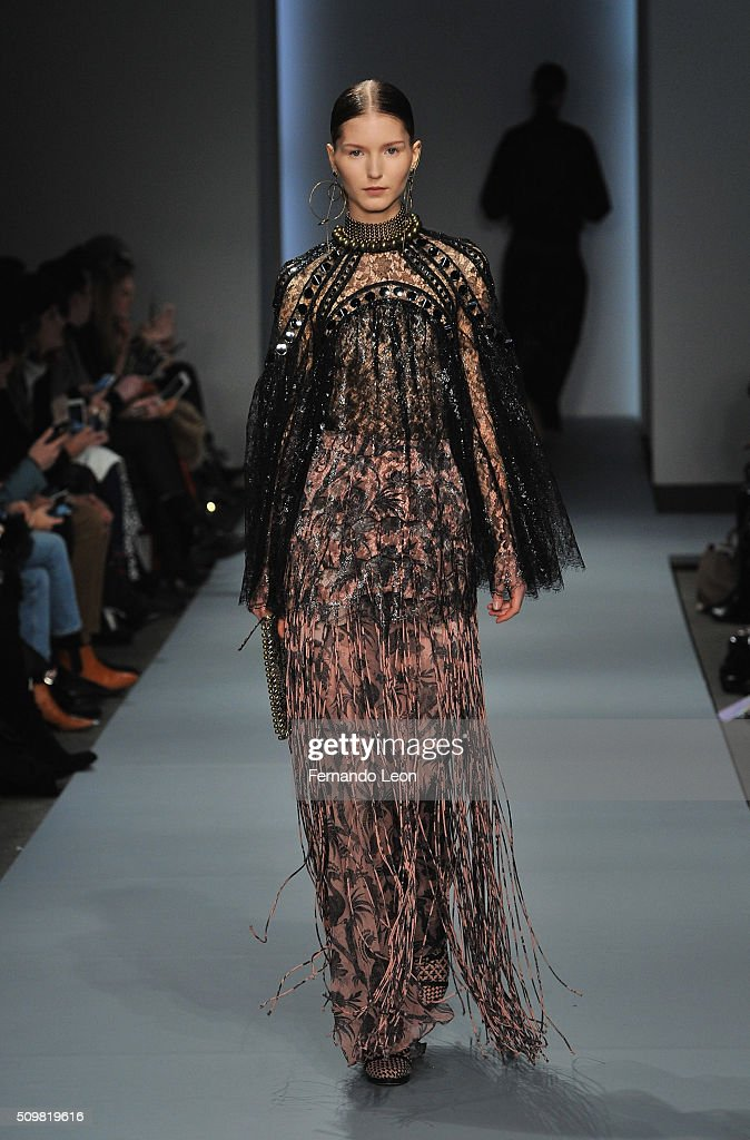 A model walks the runway at the Zimmermann fashion show during Fall 2016 New York Fashion Week at Art Beam on February 12, 2016 in New York City.