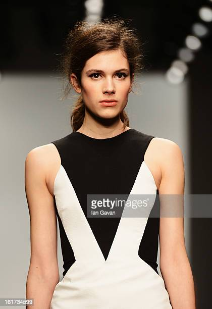 A model walks the runway at the Zoe Jordan show during London Fashion Week Fall/Winter 2013/14 at Somerset House on February 15 2013 in London England