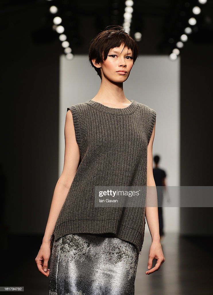 A model walks the runway at the Zoe Jordan show during London Fashion Week Fall/Winter 2013/14 at Somerset House on February 15, 2013 in London, England.