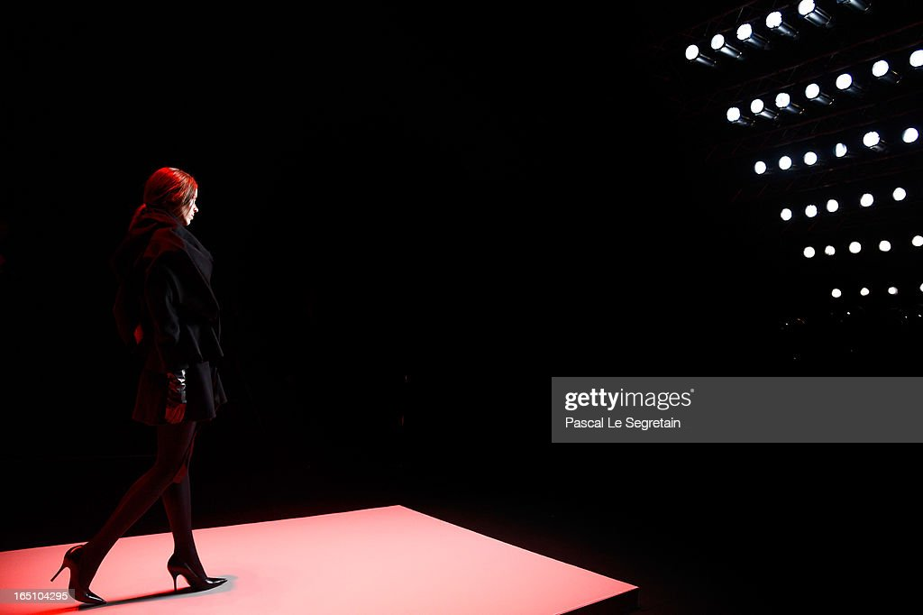A model walks the runway at theNikolai Kyvyrzhik by Slava Zaitsev show during Mercedes-Benz Fashion Week Russia Fall/Winter 2013/2014 at Manege on March 30, 2013 in Moscow, Russia.