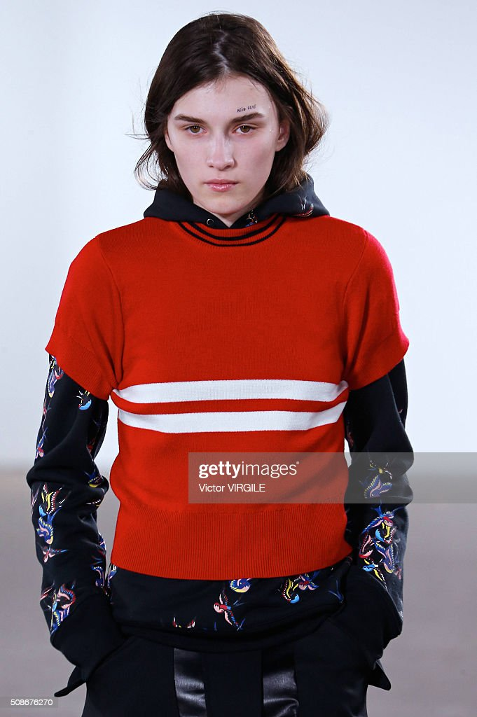 A model walks the runway at Tim Coppens fashion show during the New York Fashion Week Men's Fall/Winter 2016 on February 3, 2016 in New York City.