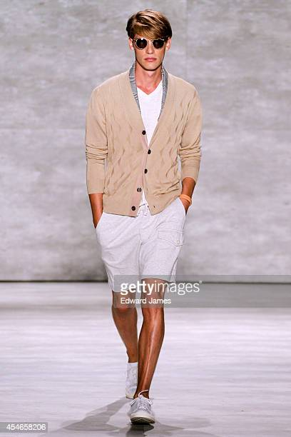 A model walks the runway at Todd Snyder during MercedesBenz Fashion Week Spring 2015 at The Pavilion at Lincoln Center on September 4 2014 in New...