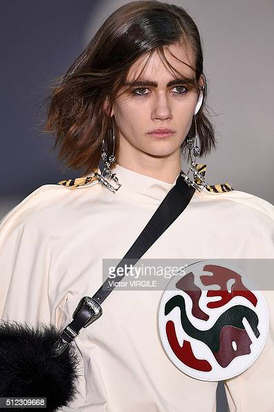 A model walks the runway at Toga fashion show during London Fashion Week Autumn/Winter 2016/2017 on February 23 2016 in London England