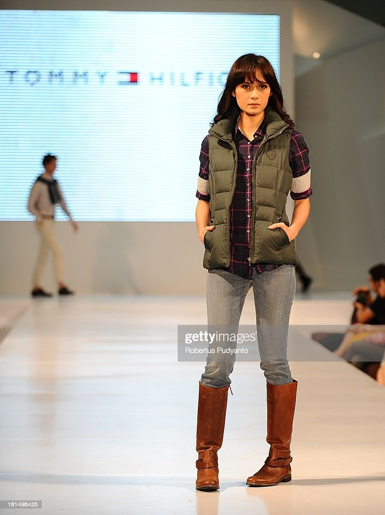 A model walks the runway at Tommy Hilfiger show during Ciputra World Fashion Week on September 21, 2013 in Surabaya, Indonesia.
