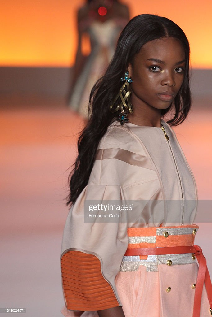 A model walks the runway at Triton show during Sao Paulo Fashion Week Summer 2014/2015 at Parque Candido Portinari on April 1 2014 in Sao Paulo Brazil