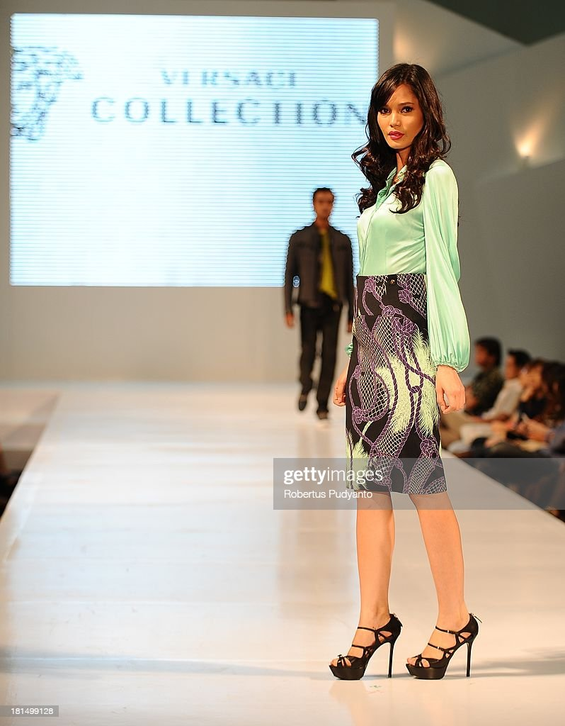A model walks the runway at Versace Collection show during Ciputra World Fashion Week on September 21, 2013 in Surabaya, Indonesia.