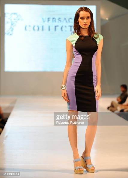 A model walks the runway at Versace Collection show during Ciputra World Fashion Week on September 21 2013 in Surabaya Indonesia