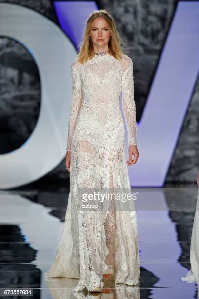 A model walks the runway at Yolancris show during Barcelona Bridal Fashion Week 2017 on April 26 2017 in Barcelona Spain