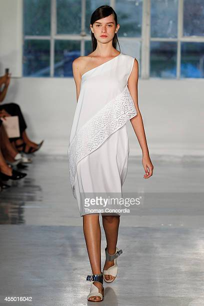 A model walks the runway at Zero Maria Cornejo during MercedesBenz Fashion Week Spring 2015 at Location05 on September 8 2014 in New York City