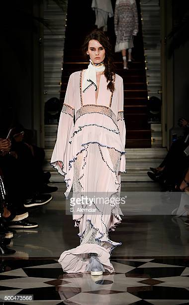 A model walks the runway at Zeynep Tosun show SS 2016 at British Consulate Of Istanbul on December 8 2015 in Istanbul Turkey
